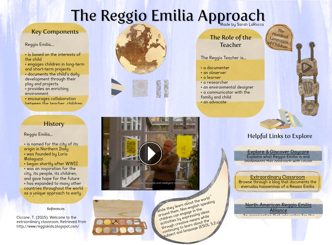 historical foundations of reggio emilia theory education essay Even though reggio emilia sounds like a new idea, the framers have relied on many of the same theorists as the united states, such as piaget , vygotsky, and other european scientists.