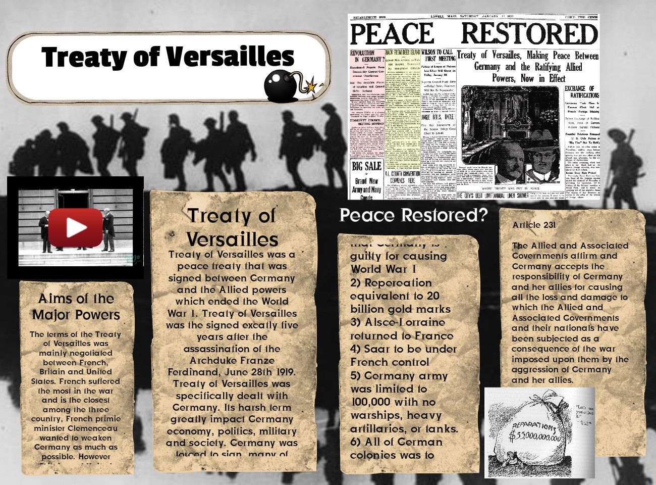the treaty of versailles was the most A2a the war had shattered europe it killed more than 85 million men most of the people in the international level called germany responsible for the war and.