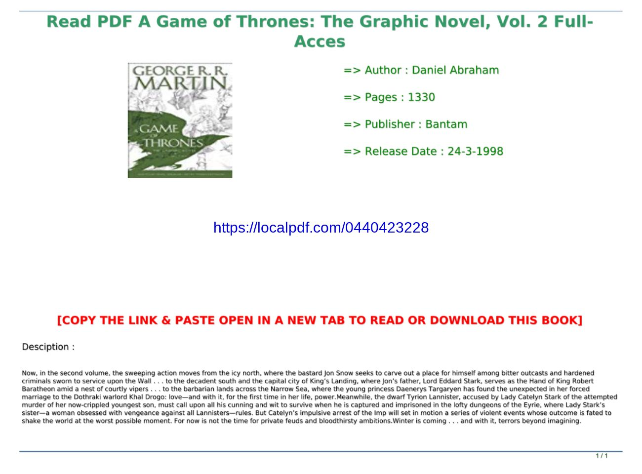 25+ Game Of Thrones Graphic Novel Download Gif