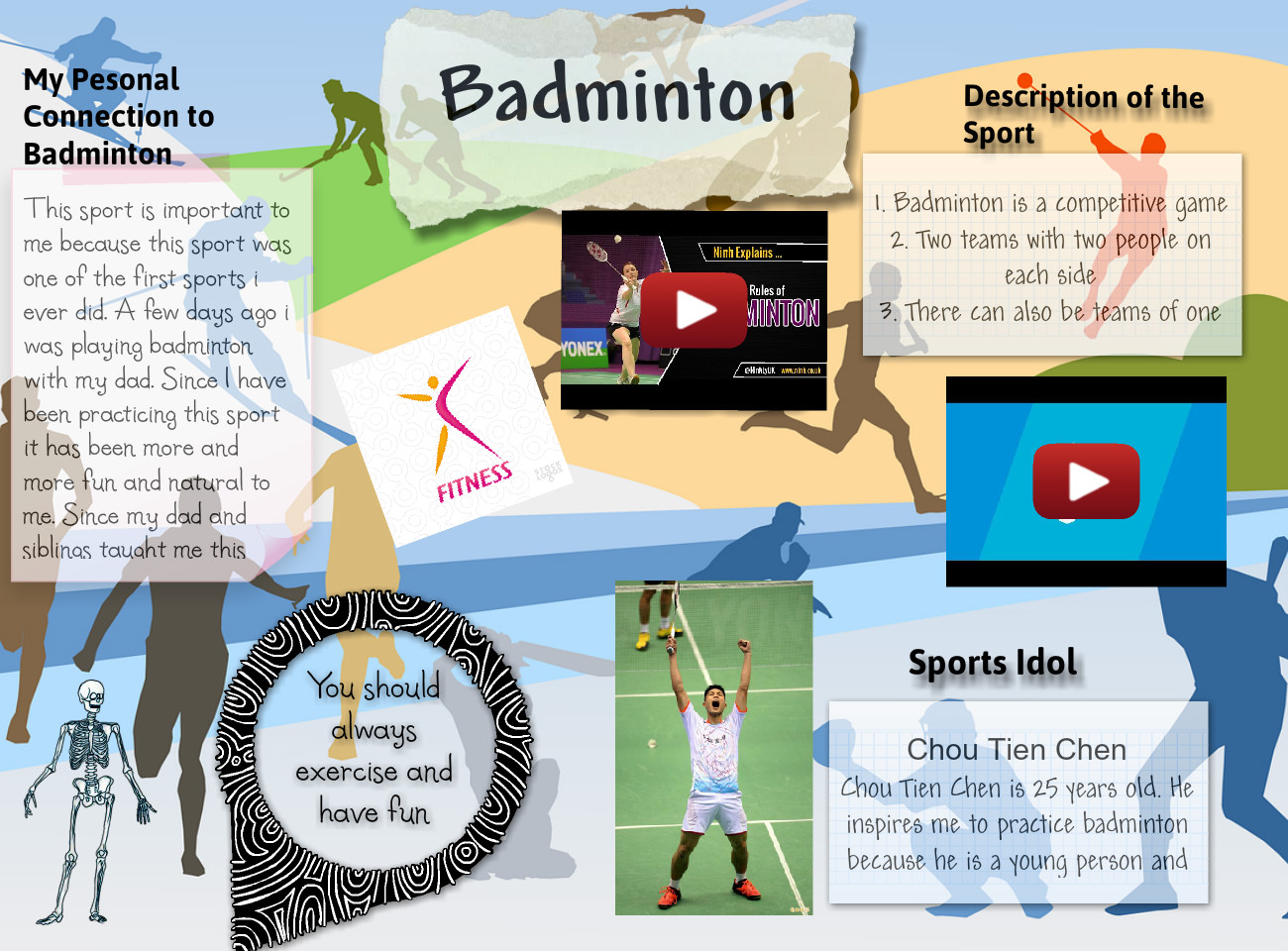 [2015] AHMED RIAD (624-ELA): Sport Reflection Assignment for Physical Education: Badminton