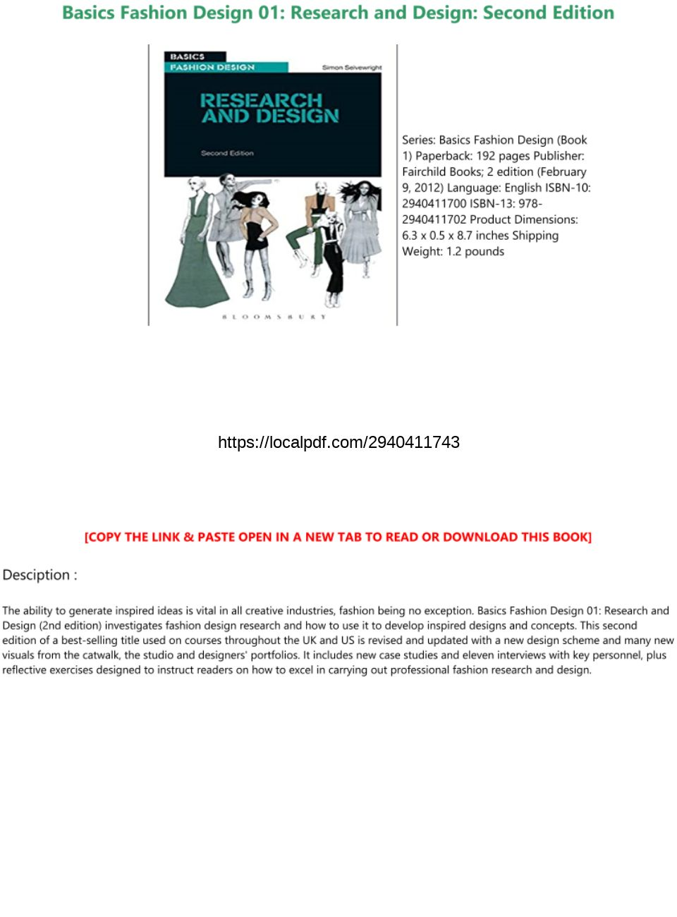 Pdf Download Basics Fashion Design 01 Research And Design Second Edition Full Books Text Images Music Video Glogster Edu Interactive Multimedia Posters