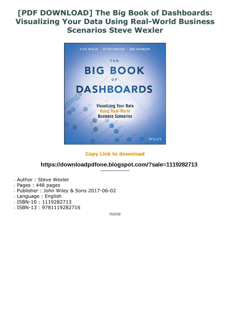 The Big Book Of Dashboards PDF Free Download