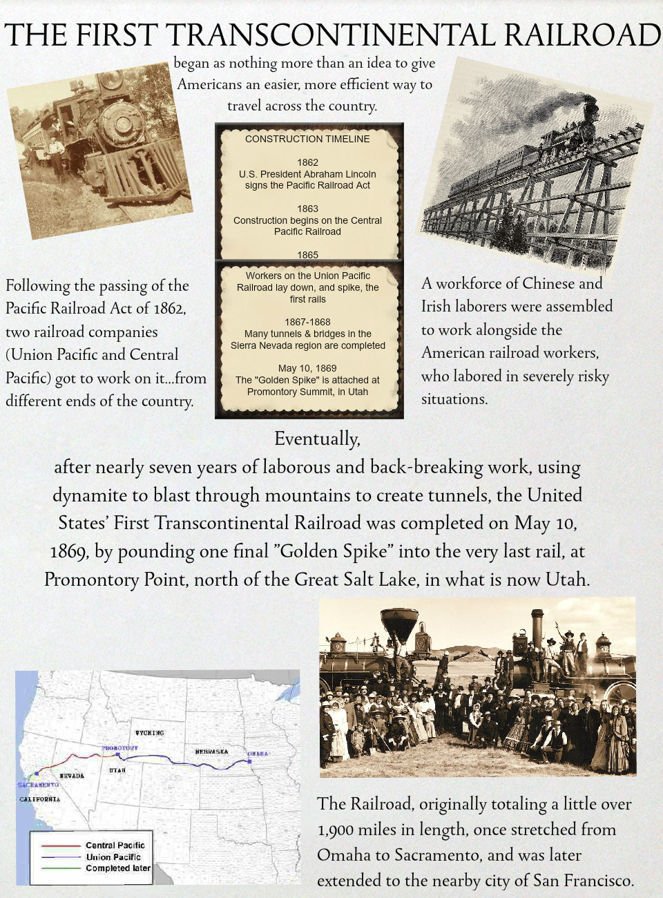 THE FIRST TRANSCONTINENTAL RAILROAD: text, images, music